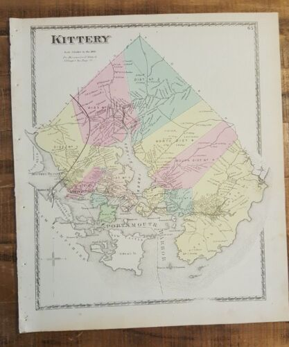 Antique Colored MAP - KITTERY, MAINE - / Atlas York County, ME - 1872