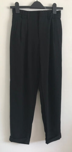 NEW EX Ladies Black Tapered Smart Elasticated Formal Trousers Size XS/S/M/L/XL