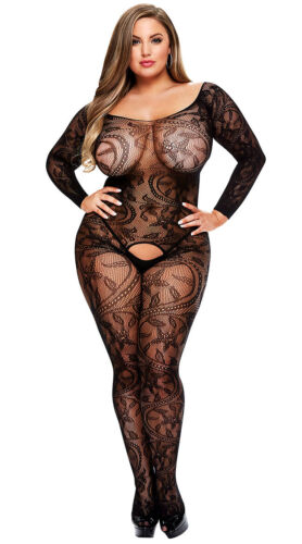 Women's Sexy Lingerie Plus Size Body Stocking Lace Floral Long Sleeve AU 14-18