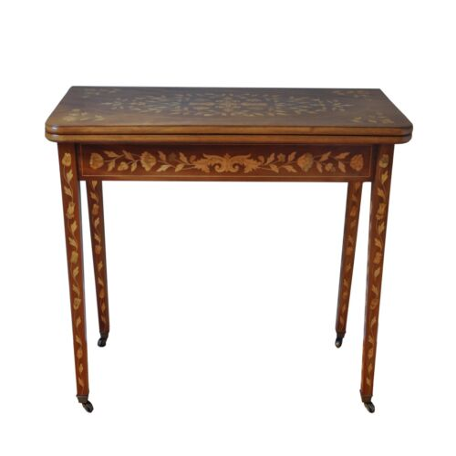 ANTIQUE Dutch Fold Over Table w/Satin Wood Inlay - Exquisite!!