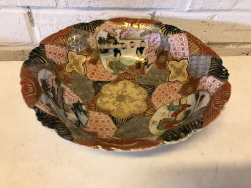 Antique Japanese Bowl Satsuma Star Decorations Hand Painted Signed