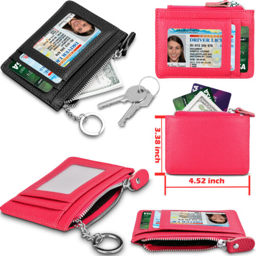 Women Wallet Genuine Leather Coin Purse Small Zippered Change RFID Card Holder
