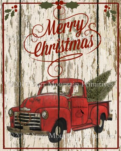 Primitive Old Red Truck Merry Christmas Chippy Shiplap Farmhouse Print 8x10