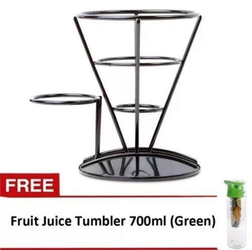 French Fry Stand (Black) with Fruit Juice Tumbler (Green) <br/> Paypal Accepted✔Same Business Day*Dispatch✔Powerseller✔