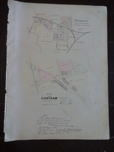 Storico 1883 Map The Plan Of Chatham & Pomeroy, Pa-Property Specifico Dettaglio