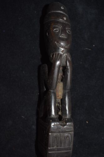 """orig $799. DAYAK RITUAL PIG TRAP STAKE, INSET SILVER  EARLY 1900S 19"""" PROV"""