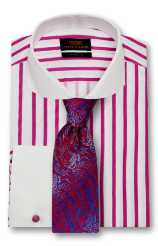 Dress Shirt Only Steven Land Trim&Classic Fit  French Cuff -Berry/Pink-TW1738-RS