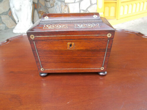 Outstanding Antique Mahogany Tea Caddy With Grand Mother of Pearl Inlay 19thc