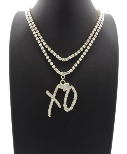 "ICED OUT RAPPER XO PENDANT W/ 3mm 16"" & 18"" 1 ROW TENNIS CHAIN NECKLACE HIP HOP"