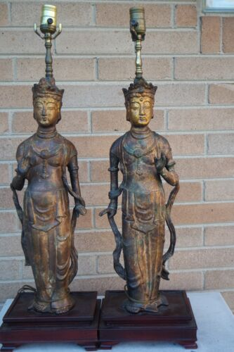 TWO VINTAGE OLD ASIAN CHINESE GODDESS FIGURAL LAMPS/CAST IRON