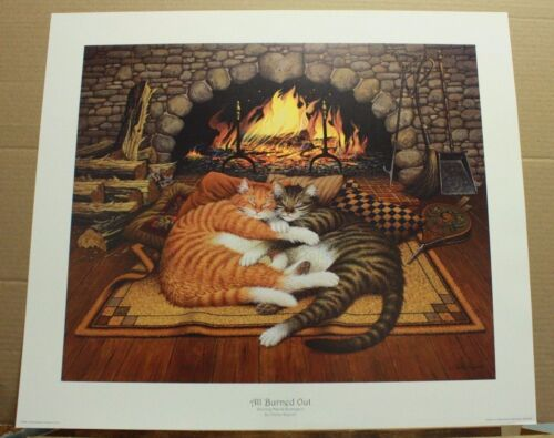 All Burned Out by Charles Wysocki Cats Fireplace Orange Tabby Grey Brown Tabby