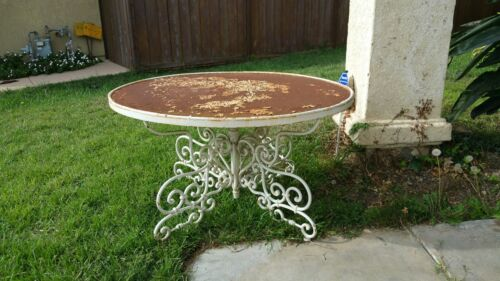 VINTAGE Cast Iron Ornate Patio Entry Garden Table Shabby Chic Chippy Paint heavy