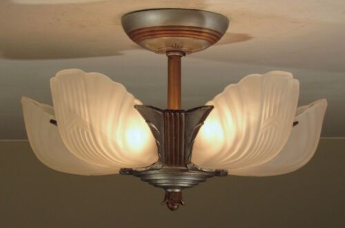 Antique 1930 MARKEL Chevron Slip Shade Light Fixture Flush Mount Restored