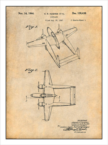 1943 Howard Hughes Military Airplane Patent Print Art Drawing Poster 18X24