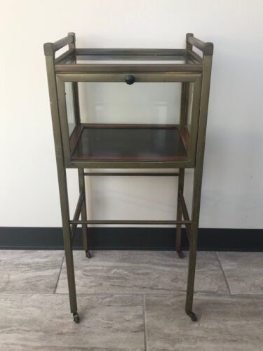 Antique German Art Deco RARE Ernst Rockhausen Brass & Glass Display Cabinet