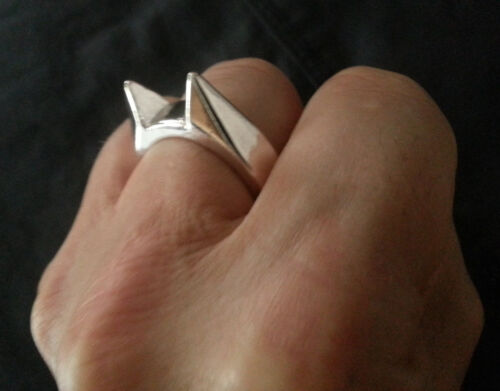 "Heavy Metal Chrome ""Bat Ears"" Protector Ring"