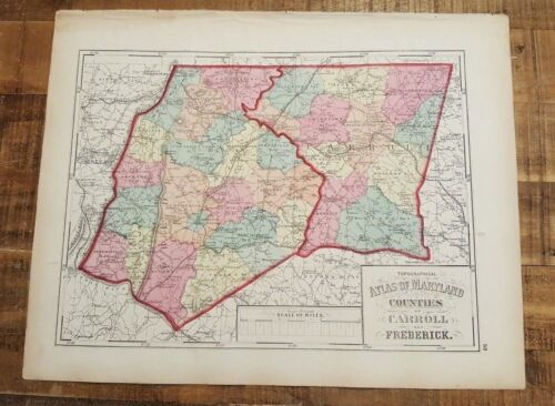 Antique MAP-MARYLAND/CO'S OF CARROLL & FREDERICK / 1873 Topographical Atlas