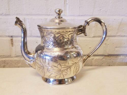 J. A. Babcock Silver plate Aesthetic / Victorian Teapot with Floral Decorations