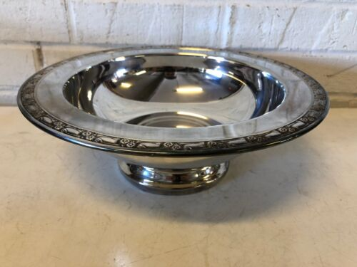 Vintage WM A Rogers Oneida Silverplate Bowl with Floral Rim