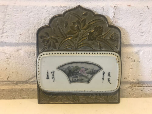 Antique Chinese Porcelain Painted Plaque Inset in Brass Frame Floral Decoration