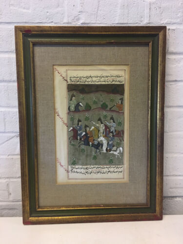 Vintage Moghul Mogul Painting of Calligraphy & Men on Horses Fighting