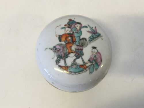 Antique Chinese Qing Dynasty Signed Marked Porcelain Seal Box Boys Riding Qilin