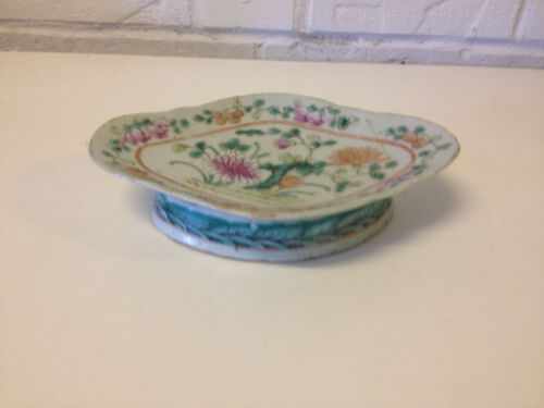 Antique Chinese Qing Dynasty Porcelain Low Bowl / Tazza w Floral Bats Waves Dec