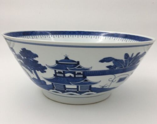 """Large 20th C Chinese Canton Blue and White Nanking 14 5/8"""" Bowl"""