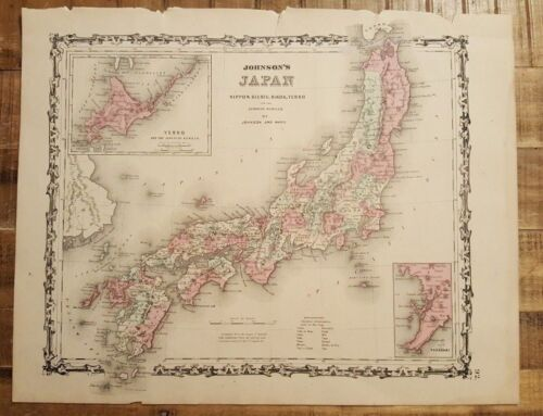 Antique Colored MAP OF JAPAN - Johnson's Family Atlas 1863