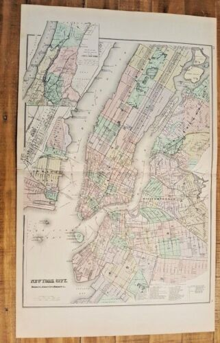Antique MAP/Gray's - NEW YORK CITY - The National Atlas 1893