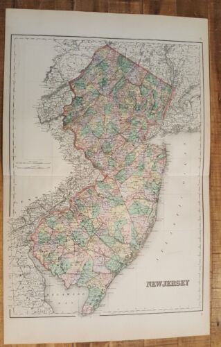 Antique Colored MAP/Gray's - NEW JERSEY - The National Atlas 1893
