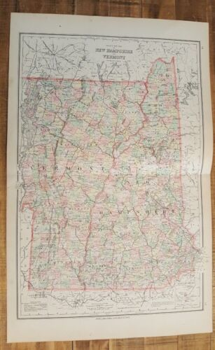 Antique Colored MAP/Gray's - NEW HAMPSHIRE & VERMONT - The National Atlas 1893