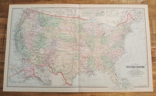 Antique Colored MAP/Gray's NEW MAP OF THE UNITED STATES- The National Atlas 1893