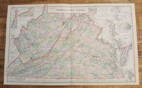 Antique Colored MAP/Gray's - VIRGINIA & WEST VIRGINIA - The National Atlas 1893