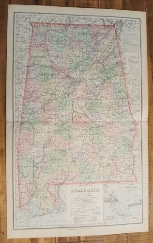 Antique Colored MAP/Gray's - ALABAMA - The National Atlas 1893