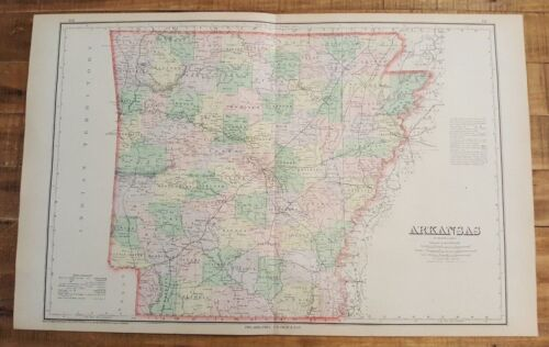 Antique Colored MAP/Gray's - ARKANSAS - The National Atlas 1893