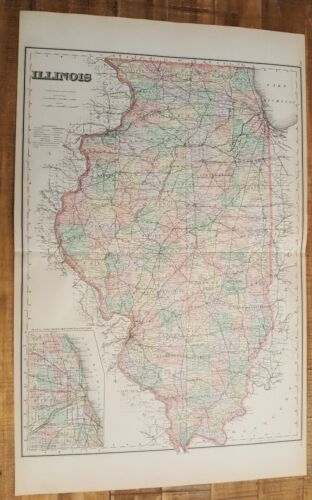 Antique Colored MAP/Gray's - ILLINOIS - The National Atlas 1893