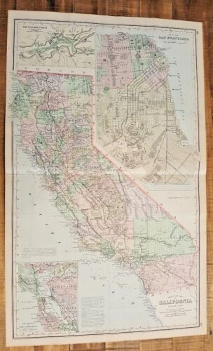 Antique Colored MAP/Gray's NEW MAP OF CALIFORNIA - The National Atlas 1893