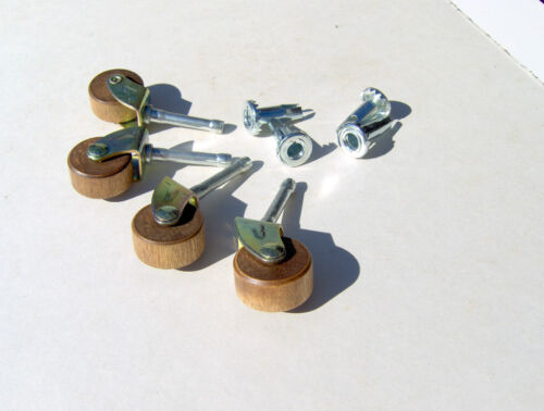Dresser Wheels Casters Wooden Rollers Wheels Replacement Wood Casters ~Set of 4!