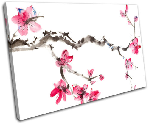 Cherry Blossom Tree Pink Painting Floral SINGLE CANVAS WALL ART Picture Print