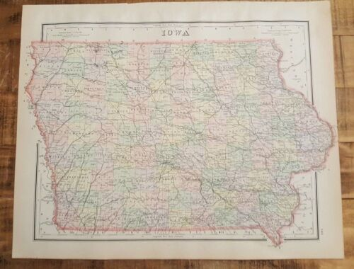 Antique Colored MAP/Gray's - IOWA - The National Atlas 1893