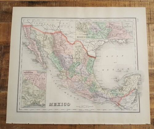Antique Colored MAP/GRAY'S - MEXICO - The National Atlas 1893
