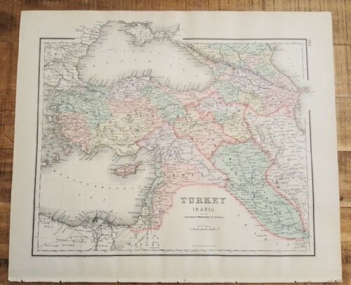 Antique Colored MAP - TURKEY (or ASIA) - The National Atlas 1893