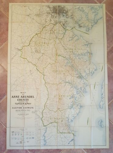 LARGE MARYLAND MAP - ANNE ARUNDEL COUNTY Topography & Election Districts - 1924