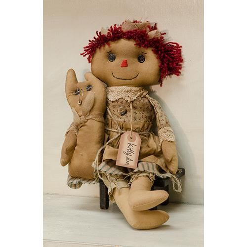 New Primitive Country Folk Art Tea Stained Raggedy Ann Kitty Cat Doll 16""