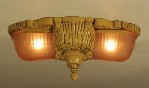 "STELLAR! Antique LINCOLN ""Glen Falls""  Slip Shade Light Fixture - Restored!"