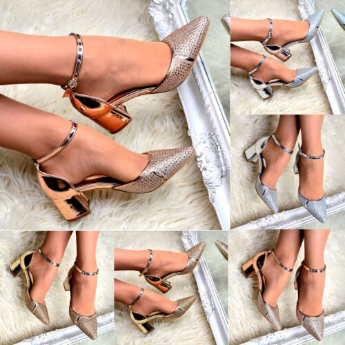 Ladies Diamante Pointed Block Heel Shoes Low Heel Ankle Strap Sandal Pointy Size