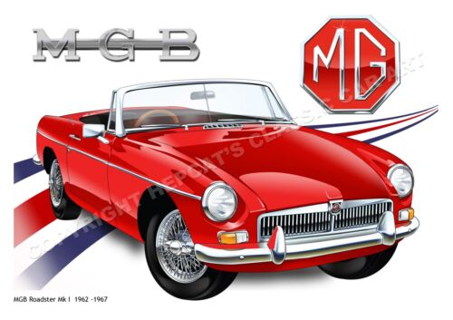Fine Art Print poster of MGB Roadster or MGC GT - MG classic car 1960s-1970s