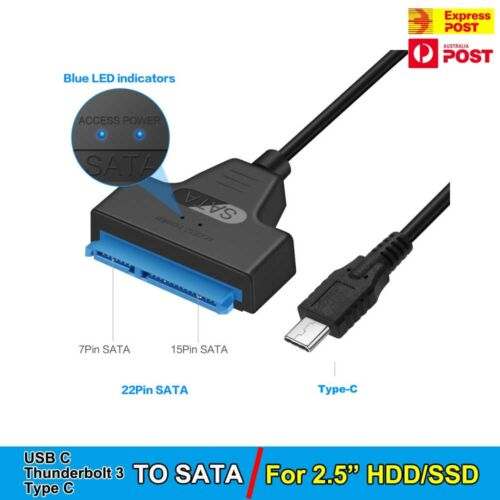 """Type C USB C to SATA III Converter Adapter Cable for 2.5"""" Hard Drive HDD SSD  AU"""