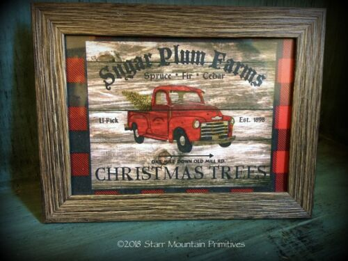Primitive Country Christmas Vintage Red Truck Sign Buffalo Check Framed Print